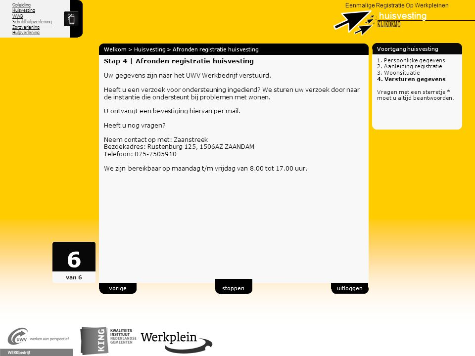 6 huisvesting X KLIKDEMO 34 Stap 4 | Afronden registratie huisvesting