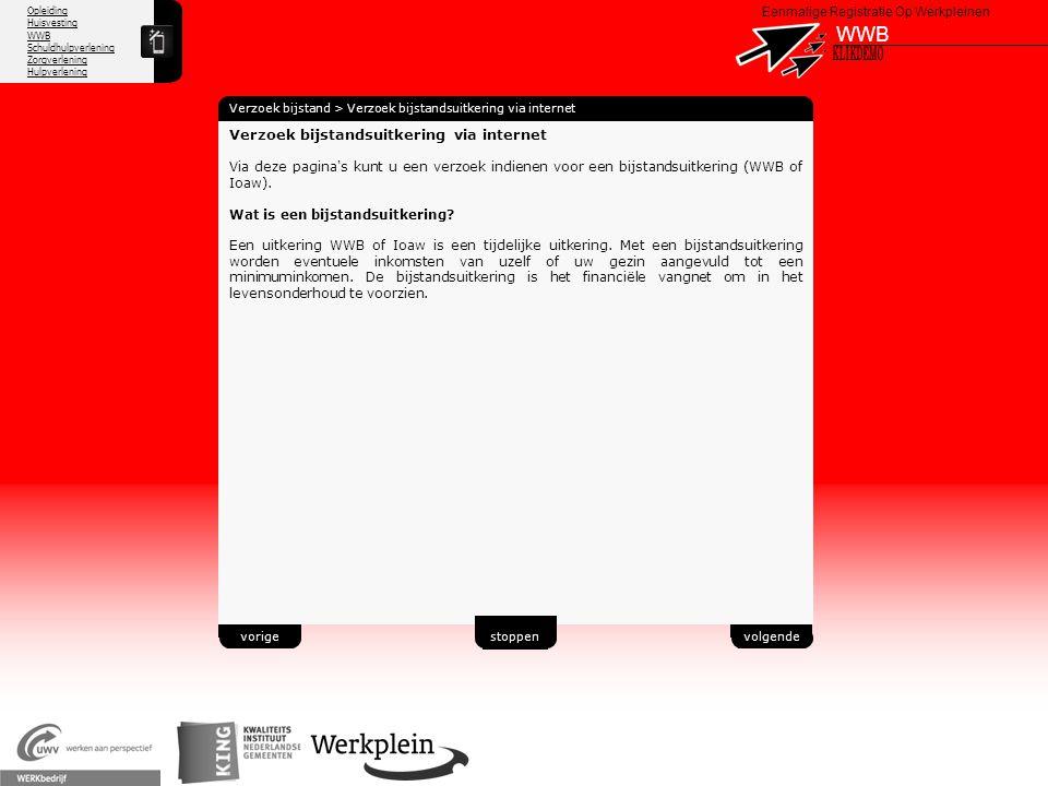 WWB X KLIKDEMO 38 Verzoek bijstandsuitkering via internet
