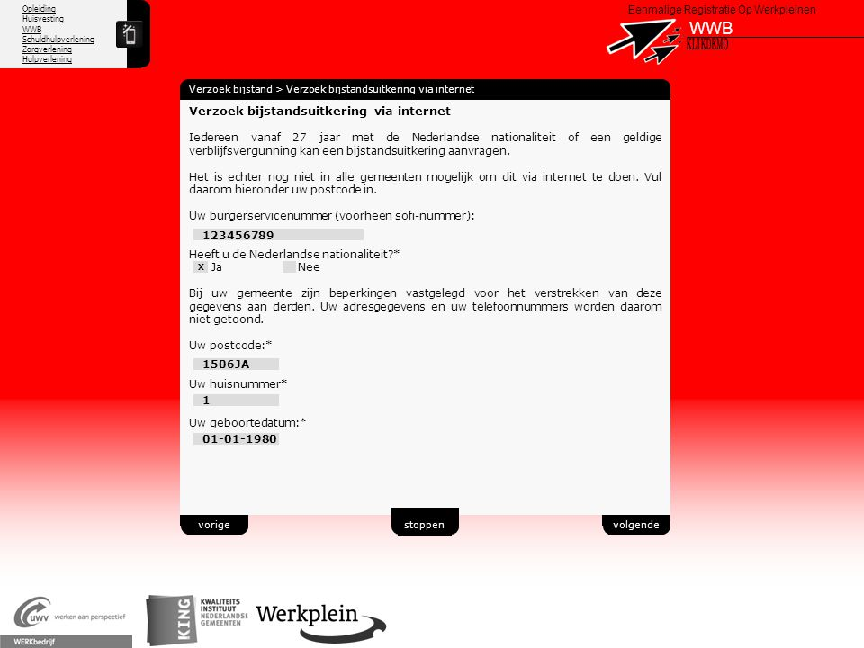 WWB X KLIKDEMO 39 Verzoek bijstandsuitkering via internet