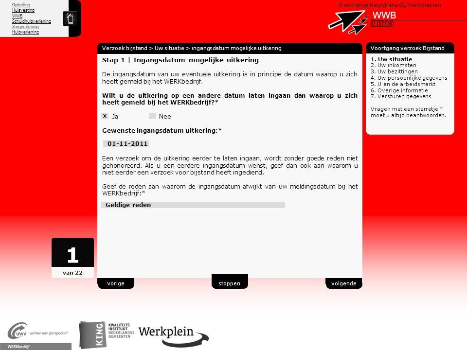 1 WWB X KLIKDEMO 45 Stap 1 | Ingangsdatum mogelijke uitkering
