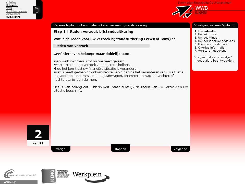 2 WWB X KLIKDEMO 46 Stap 1 | Reden verzoek bijstandsuitkering