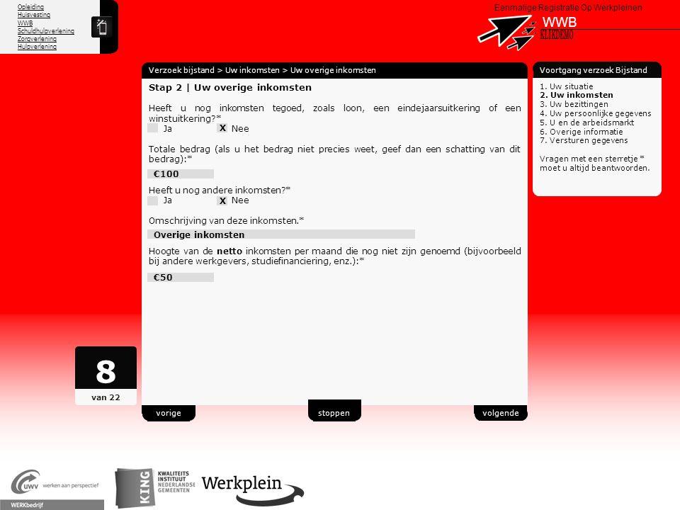 8 WWB X KLIKDEMO 52 Stap 2 | Uw overige inkomsten