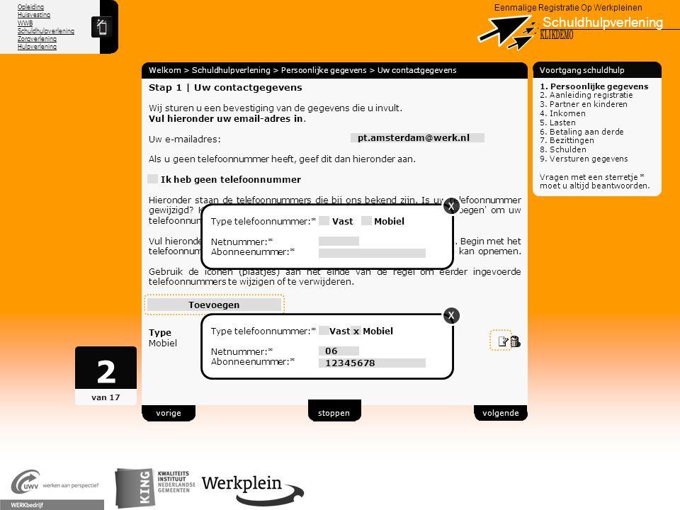 2 Schuldhulpverlening X KLIKDEMO X X 70 Stap 1 | Uw contactgegevens