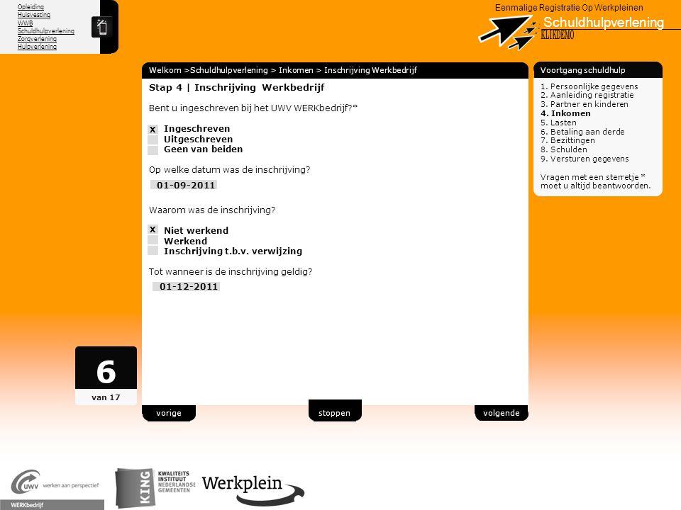6 Schuldhulpverlening X KLIKDEMO 74 Stap 4 | Inschrijving Werkbedrijf