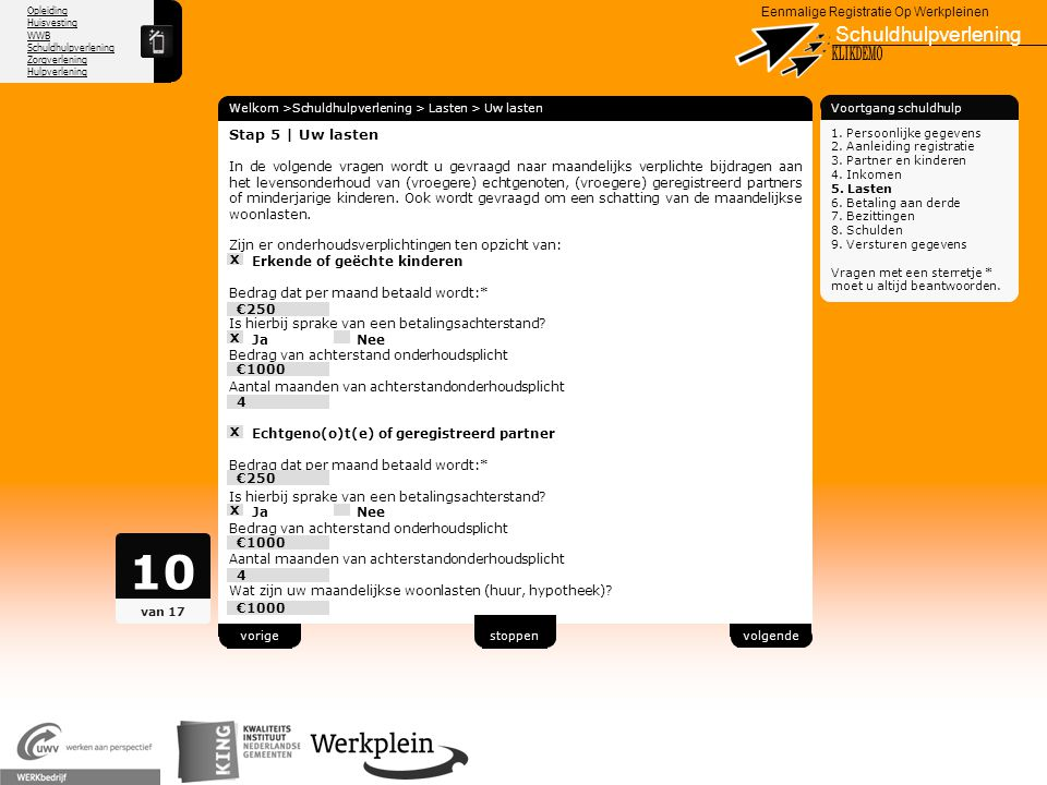 10 Schuldhulpverlening X KLIKDEMO 78 Stap 5 | Uw lasten