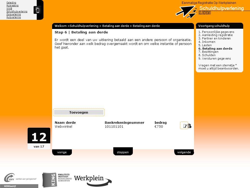12 Schuldhulpverlening X KLIKDEMO 80 Stap 6 | Betaling aan derde
