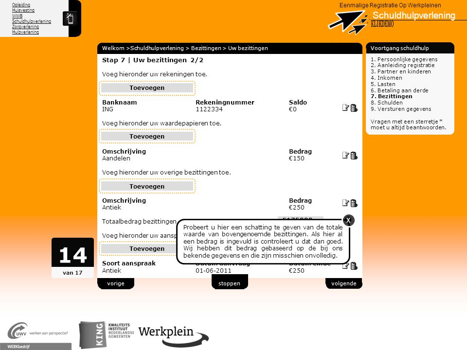 14 Schuldhulpverlening X KLIKDEMO X 82 Stap 7 | Uw bezittingen 2/2