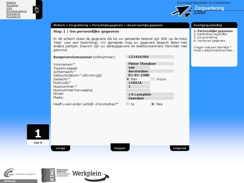 1 Zorgverlening X KLIKDEMO 88 Stap 1 | Uw persoonlijke gegevens