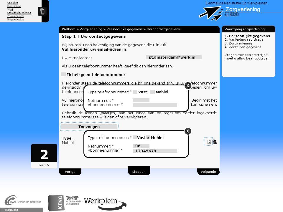 2 Zorgverlening X KLIKDEMO X X 89 Stap 1 | Uw contactgegevens