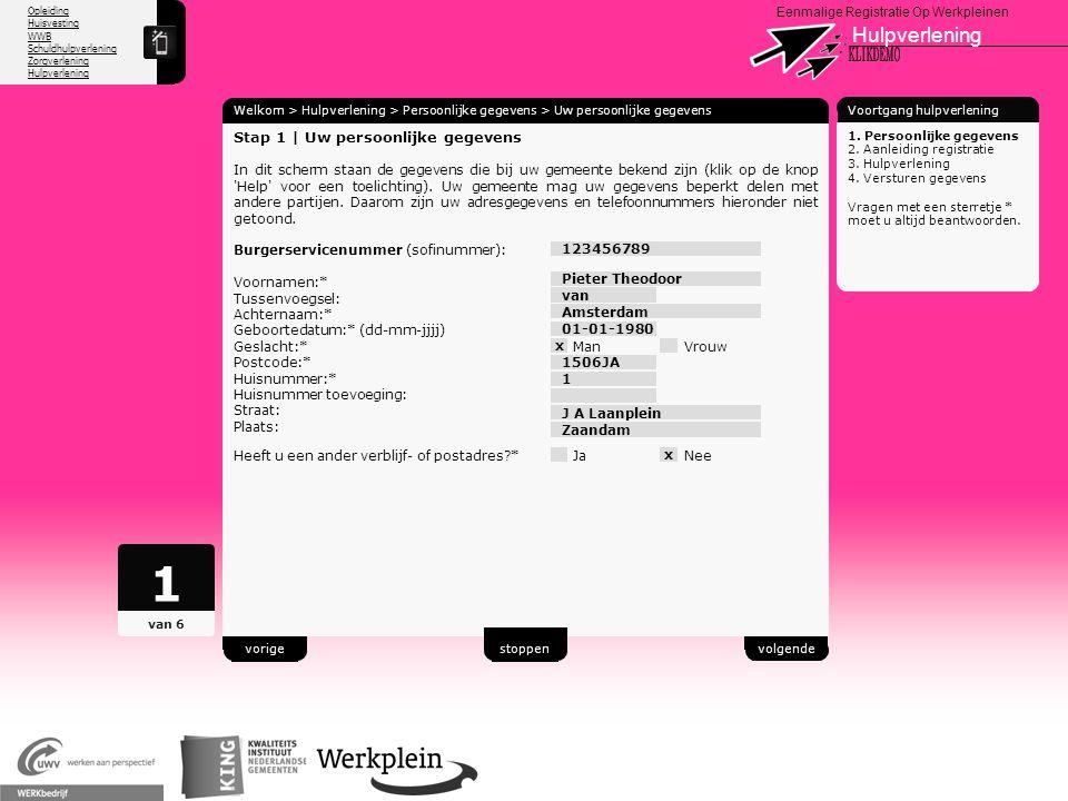 1 Hulpverlening X KLIKDEMO 96 Stap 1 | Uw persoonlijke gegevens