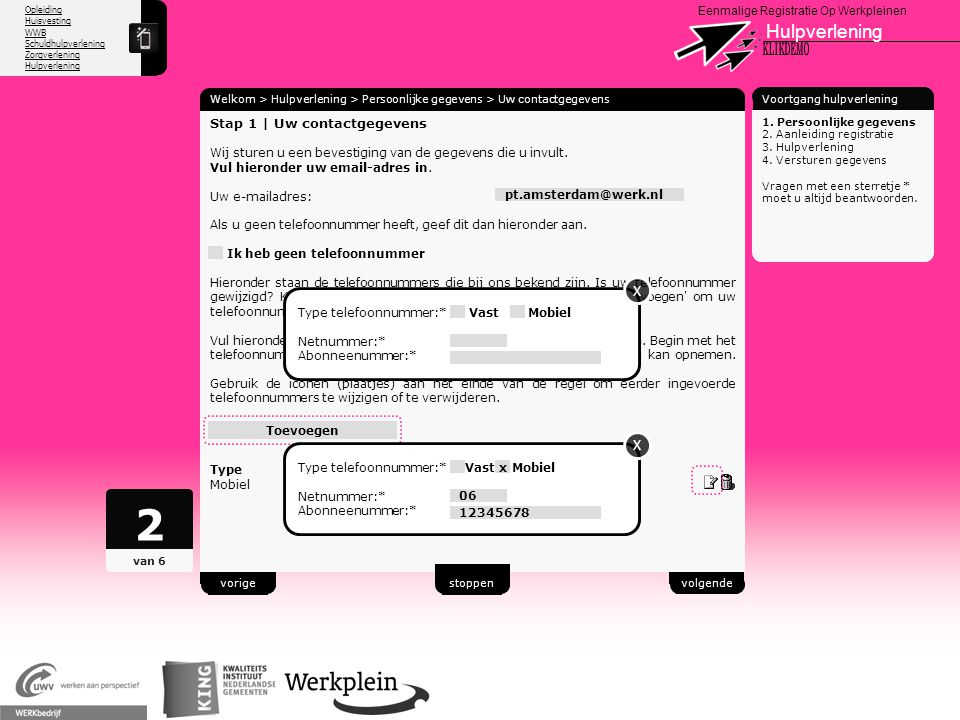 2 Hulpverlening X KLIKDEMO X X 97 Stap 1 | Uw contactgegevens