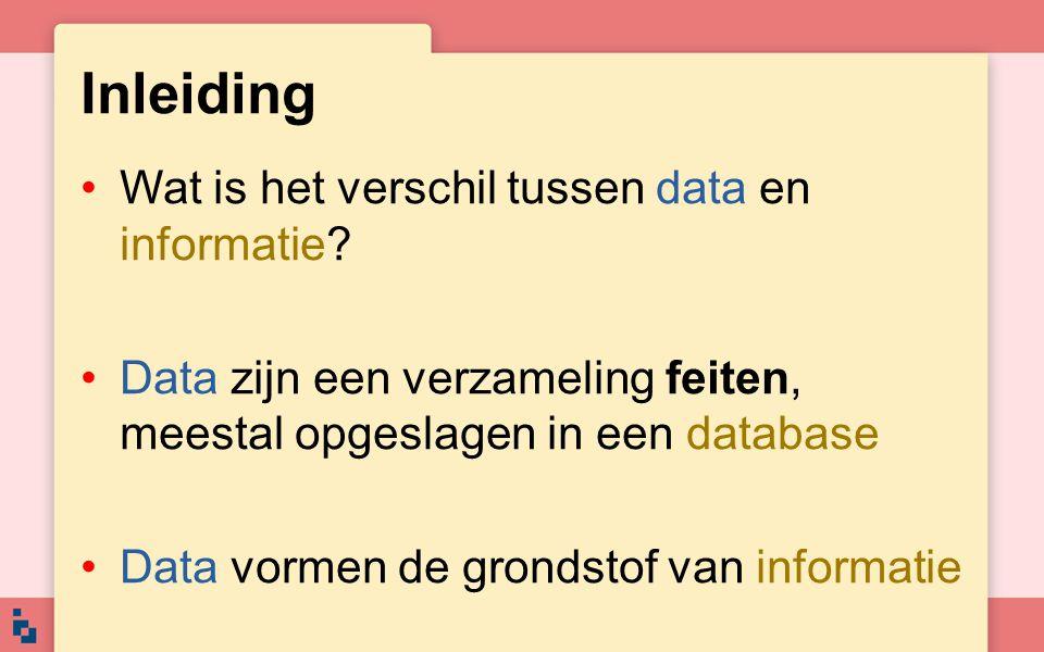 Inleiding Wat is het verschil tussen data en informatie