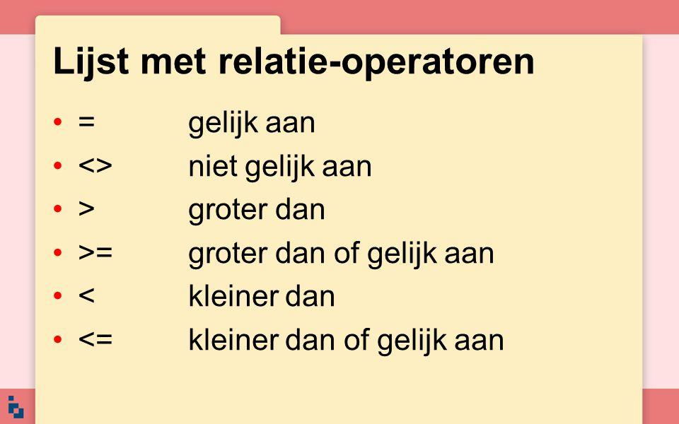 Lijst met relatie-operatoren