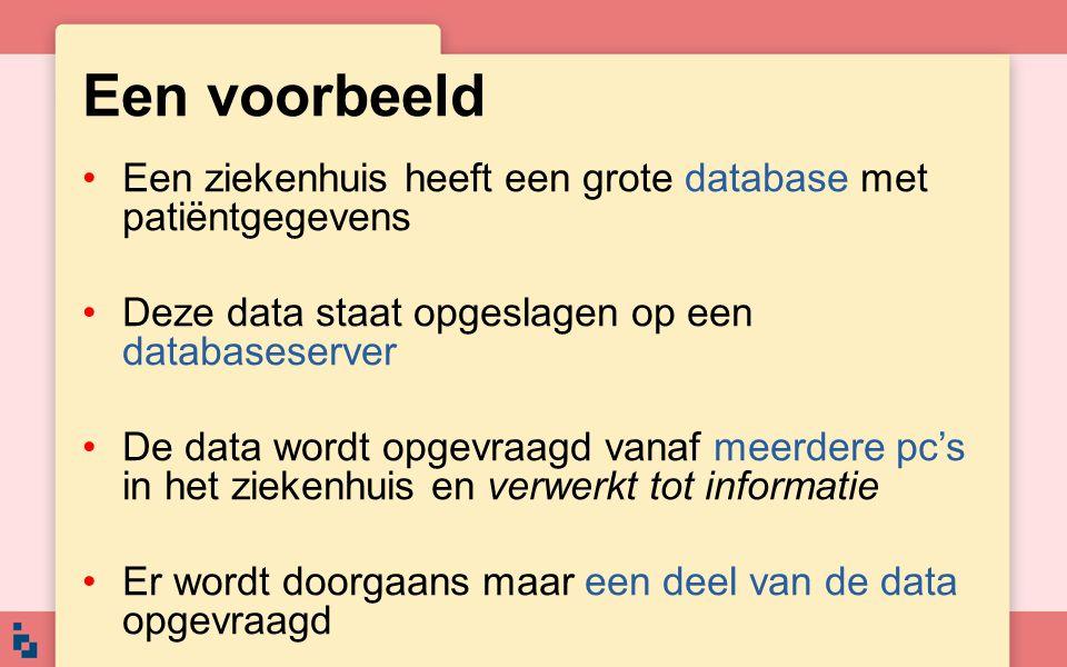 Een voorbeeld Een ziekenhuis heeft een grote database met patiëntgegevens. Deze data staat opgeslagen op een databaseserver.