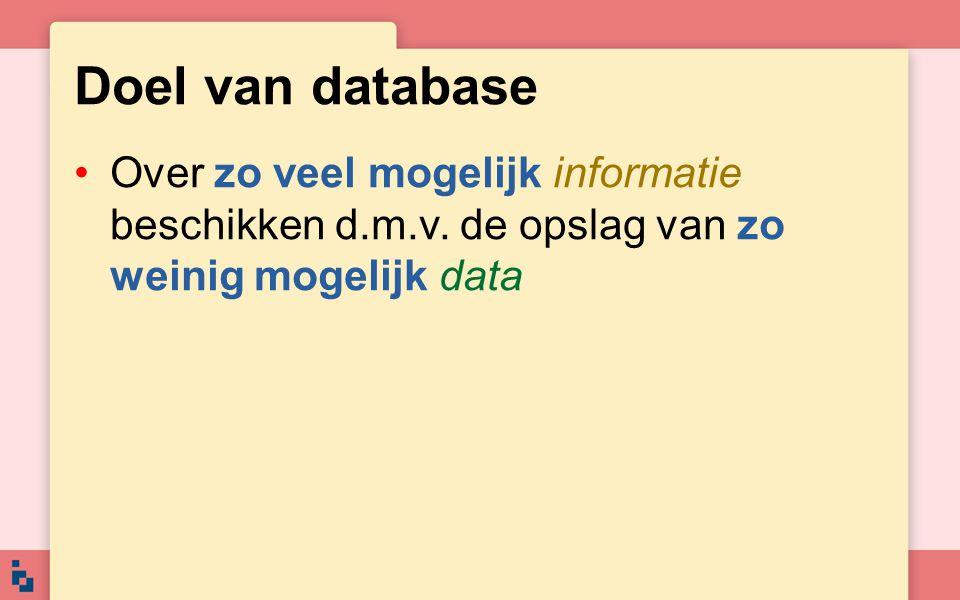 Doel van database Over zo veel mogelijk informatie beschikken d.m.v.