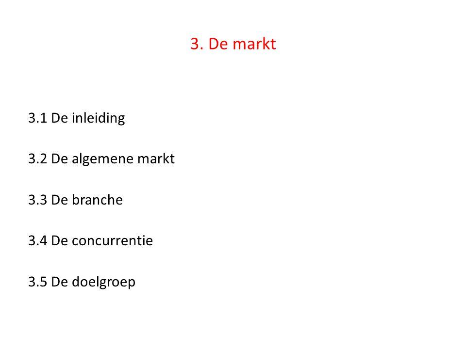 3. De markt 3.1 De inleiding 3.2 De algemene markt 3.3 De branche