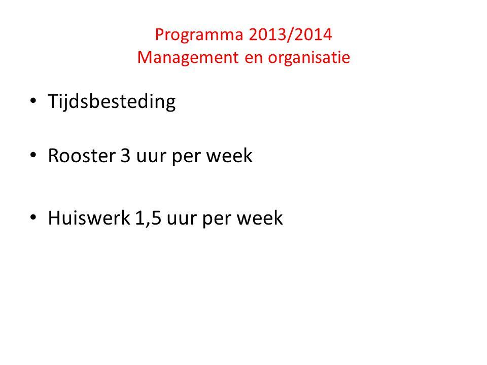 Programma 2013/2014 Management en organisatie