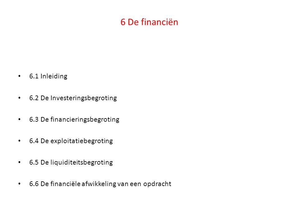 6 De financiën 6.1 Inleiding 6.2 De Investeringsbegroting