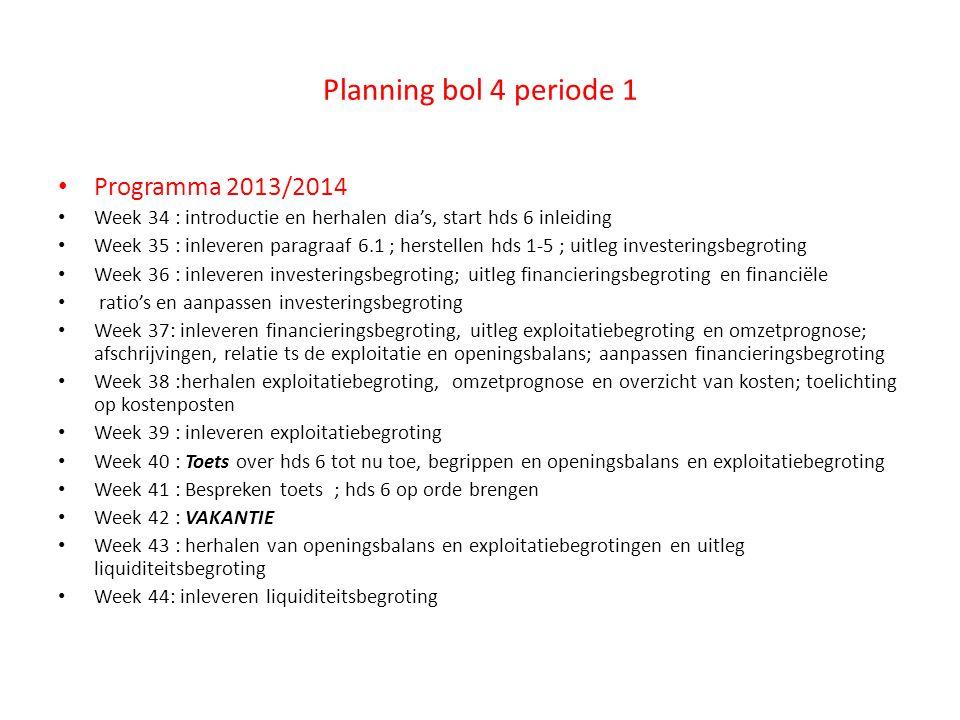 Planning bol 4 periode 1 Programma 2013/2014