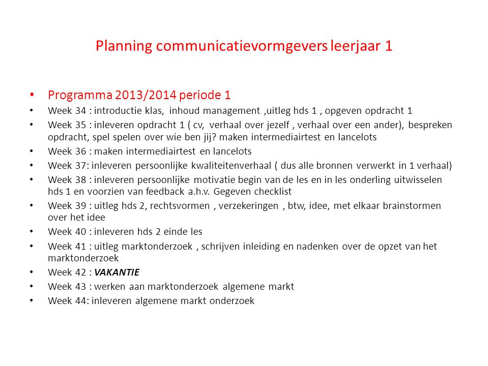 Planning communicatievormgevers leerjaar 1