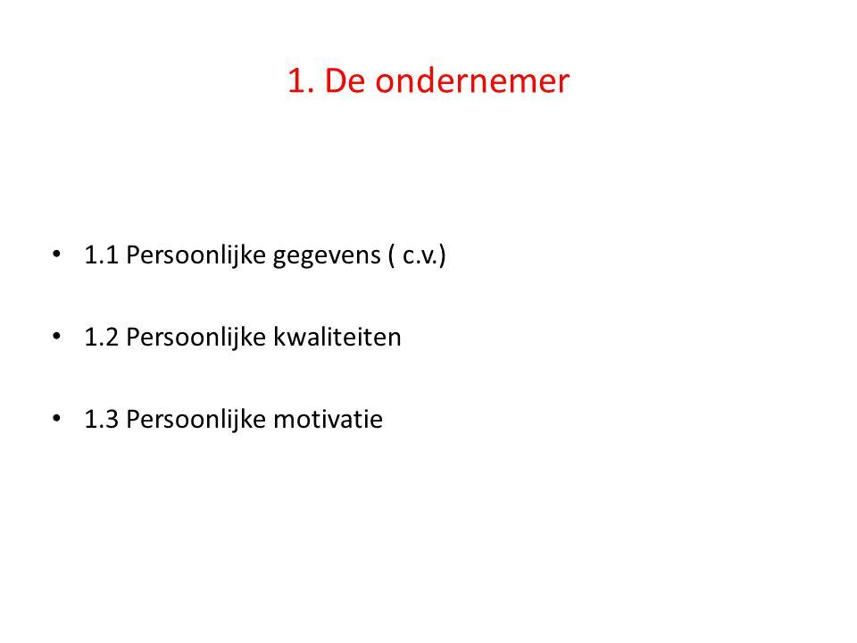 1. De ondernemer 1.1 Persoonlijke gegevens ( c.v.)