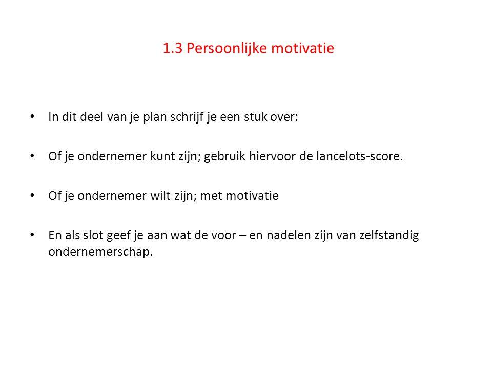 1.3 Persoonlijke motivatie