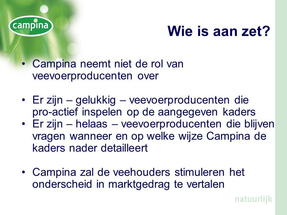 Wie is aan zet Campina neemt niet de rol van veevoerproducenten over
