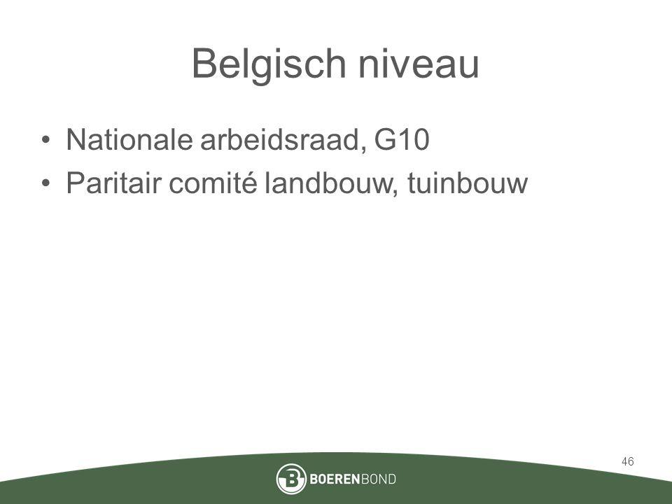 Belgisch niveau Nationale arbeidsraad, G10