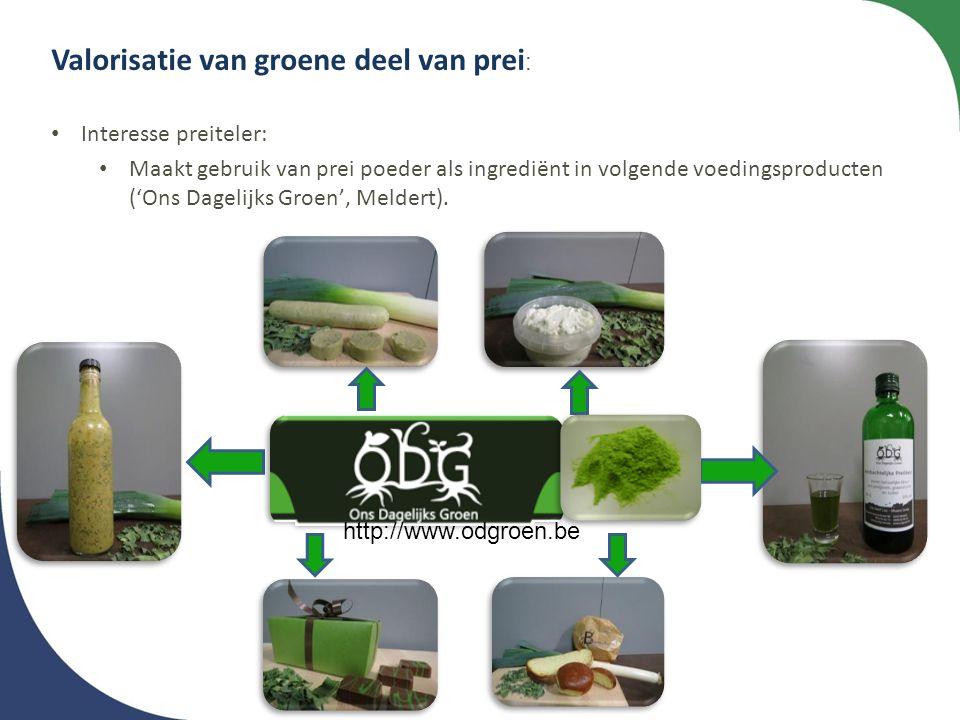 Valorisatie van groene deel van prei: