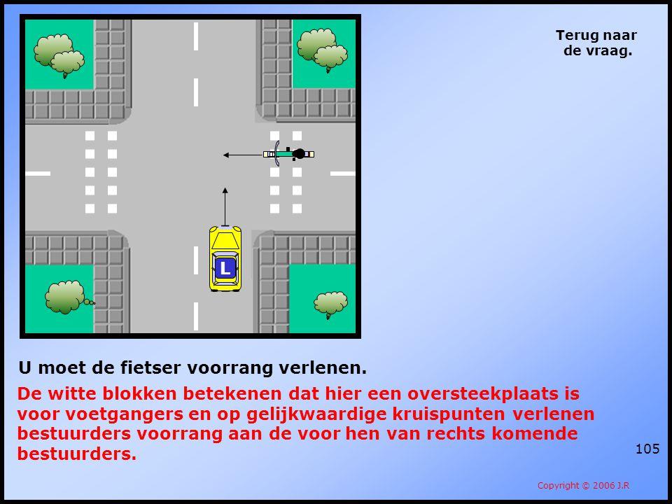 U moet de fietser voorrang verlenen.