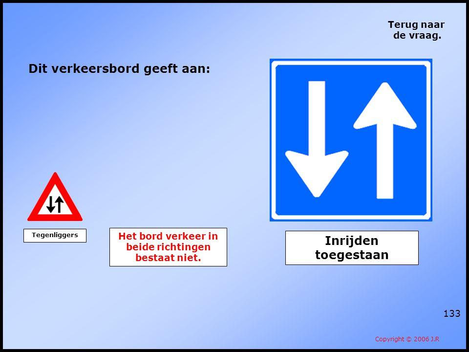 Het bord verkeer in beide richtingen bestaat niet.