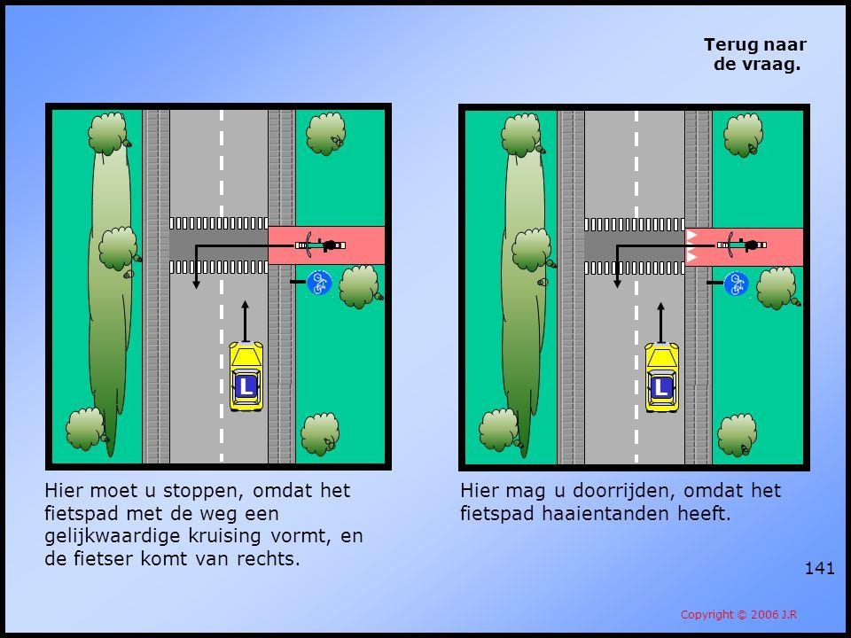 Terug naar de vraag. L. L. Hier moet u stoppen, omdat het fietspad met de weg een gelijkwaardige kruising vormt, en de fietser komt van rechts.