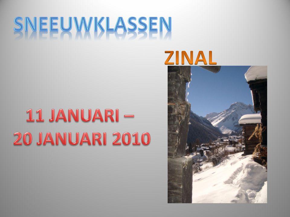 SNEEUWKLASSEN ZINAL 11 JANUARI – 20 JANUARI 2010