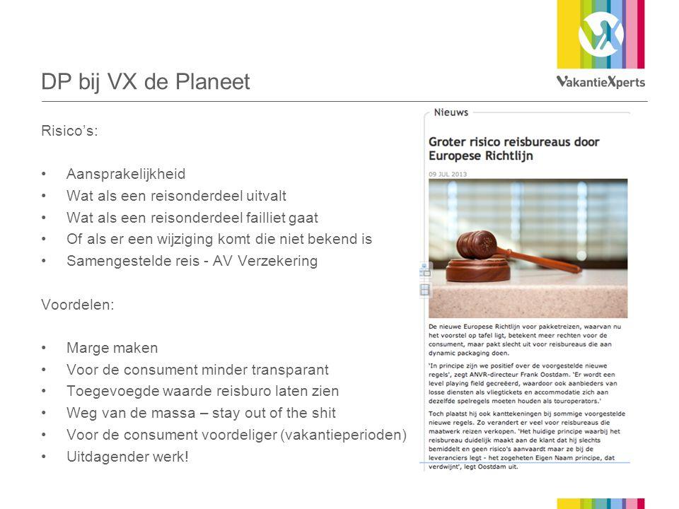 DP bij VX de Planeet Risico's: Aansprakelijkheid