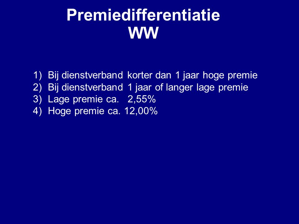 Premiedifferentiatie WW