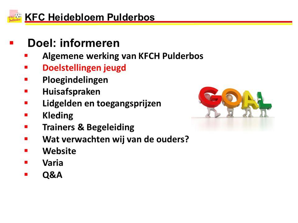 Doel: informeren Algemene werking van KFCH Pulderbos