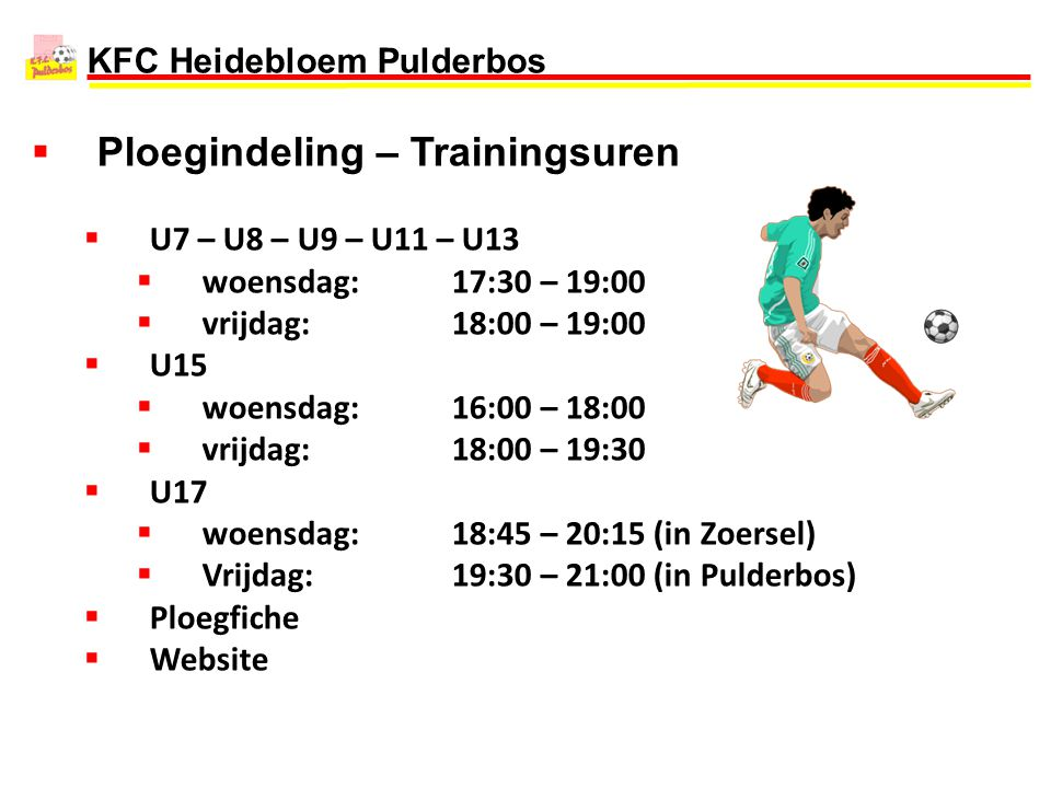 Ploegindeling – Trainingsuren