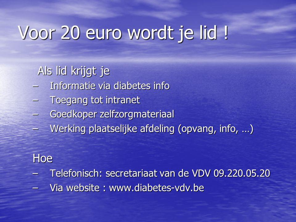 Voor 20 euro wordt je lid ! Als lid krijgt je Hoe