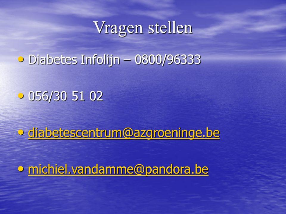 Vragen stellen Diabetes Infolijn – 0800/96333 056/30 51 02