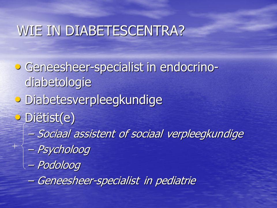 WIE IN DIABETESCENTRA Geneesheer-specialist in endocrino-diabetologie