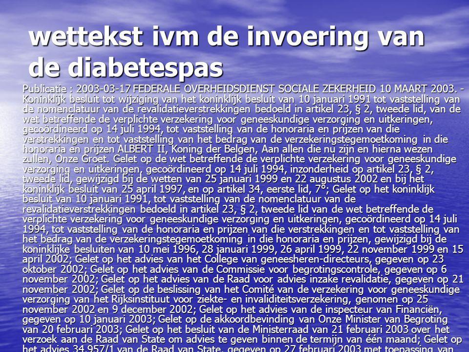 wettekst ivm de invoering van de diabetespas