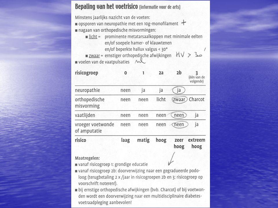 Neuropathie = aantasting van de zenuwbanen door diabetes (sensibele, motorische en autonome neuropathie)