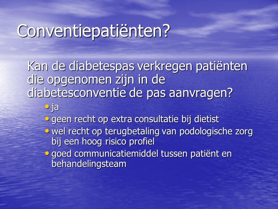 Conventiepatiënten Kan de diabetespas verkregen patiënten die opgenomen zijn in de diabetesconventie de pas aanvragen
