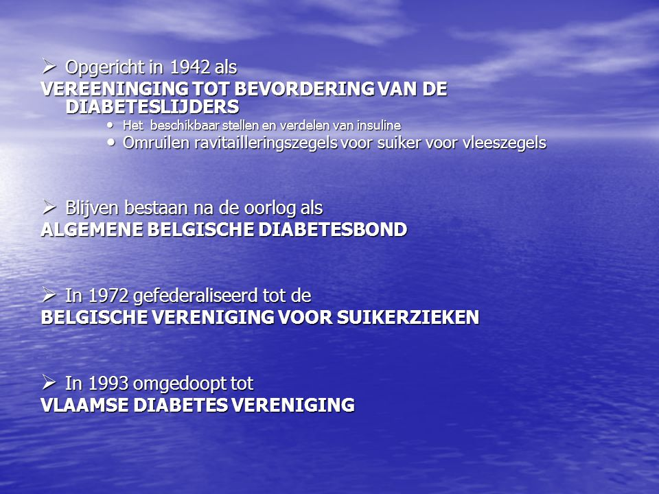 VEREENINGING TOT BEVORDERING VAN DE DIABETESLIJDERS