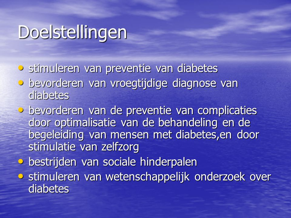 Doelstellingen stimuleren van preventie van diabetes