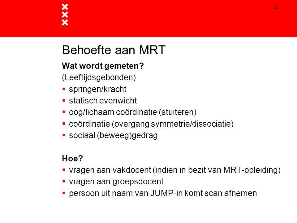 Behoefte aan MRT Wat wordt gemeten (Leeftijdsgebonden)