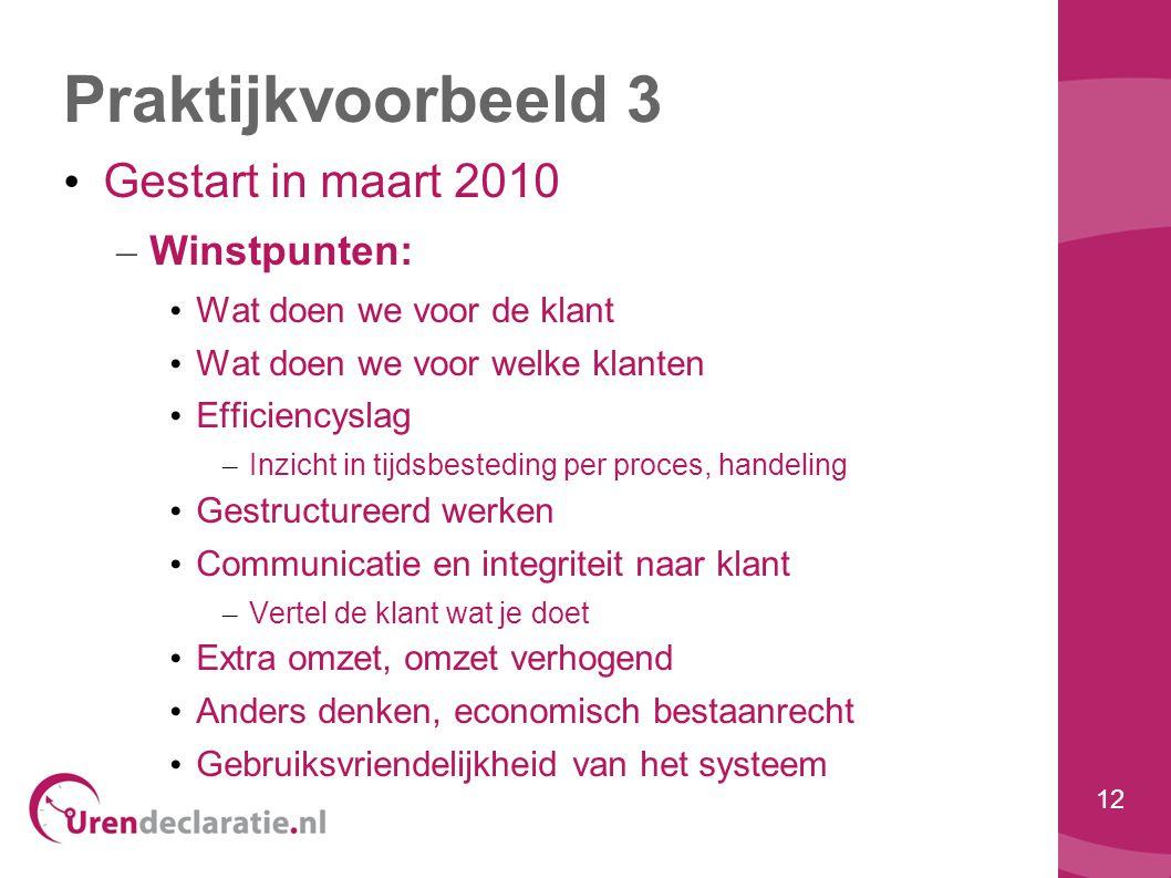 Praktijkvoorbeeld 3 Gestart in maart 2010 Winstpunten: