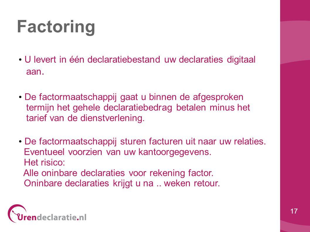 Factoring U levert in één declaratiebestand uw declaraties digitaal