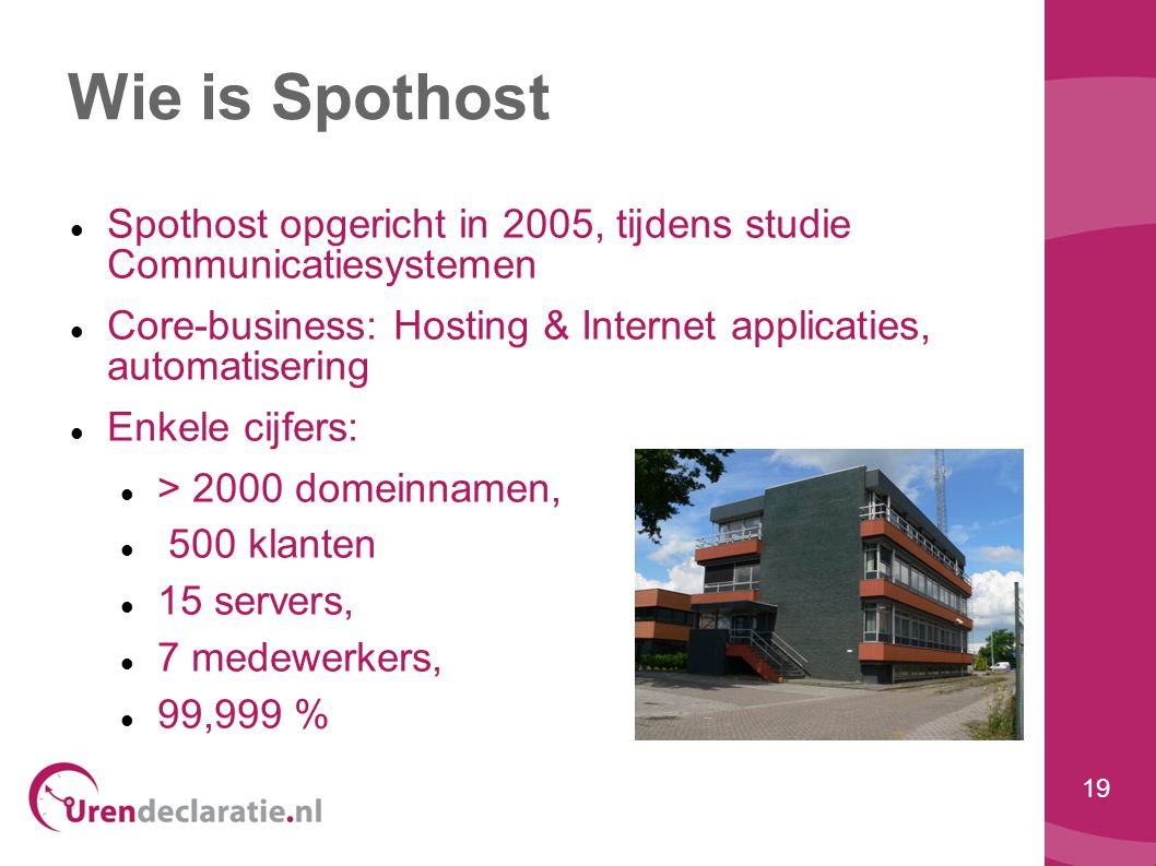 Wie is Spothost Spothost opgericht in 2005, tijdens studie Communicatiesystemen. Core-business: Hosting & Internet applicaties, automatisering.