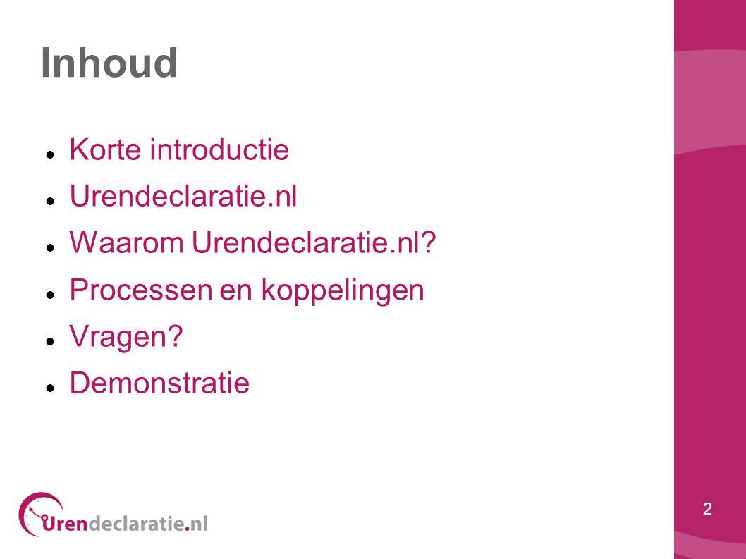 Inhoud Korte introductie Urendeclaratie.nl Waarom Urendeclaratie.nl